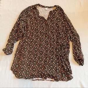 Old Navy Brown Floral Quarter Button Up Blouse - 4X